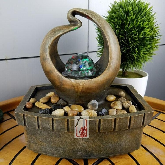 Small Water Fountain Bonsai Decoration Simple Modern Fengshui Round Ball  Zhaocai Decor Home Furnishing Desktop Display
