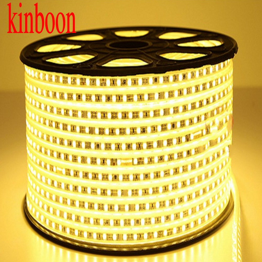 Waterproof SMD <font><b>5050</b></font> led tape AC220V warm white flexible led strip <font><b>60</b></font> leds/Meter outdoor garden lighting with EU Power plug image