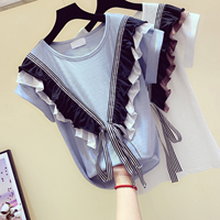 Summer Top Tshirt Woman 2019 New Korean Style Ruffles and Bow Tied T shirt T shirts Girls Students All match Basic Tops Tees