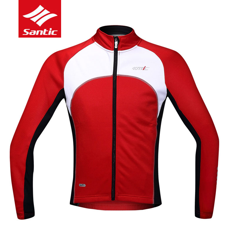 New Santic Autumn Winter Mens Cycling Jerseys Long Sleeve Breathable Bike Jacket Warm Thermal MTB Road Bicycle Clothing C01024R cycling clothing rushed mtb mavic 2017 bike jerseys men for graffiti cycling polyester breathable bicycle new multicolor s 6xl