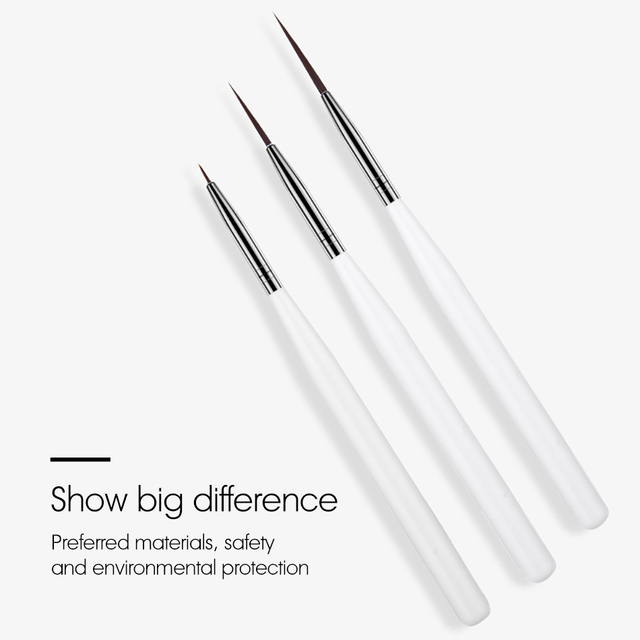 ROHWXY 3Pcs/Set Nail Art Brushes Acrylic French Painting Brush Flower Design Stripes Lines Liner DIY Drawing Pen Manicure Tools 2