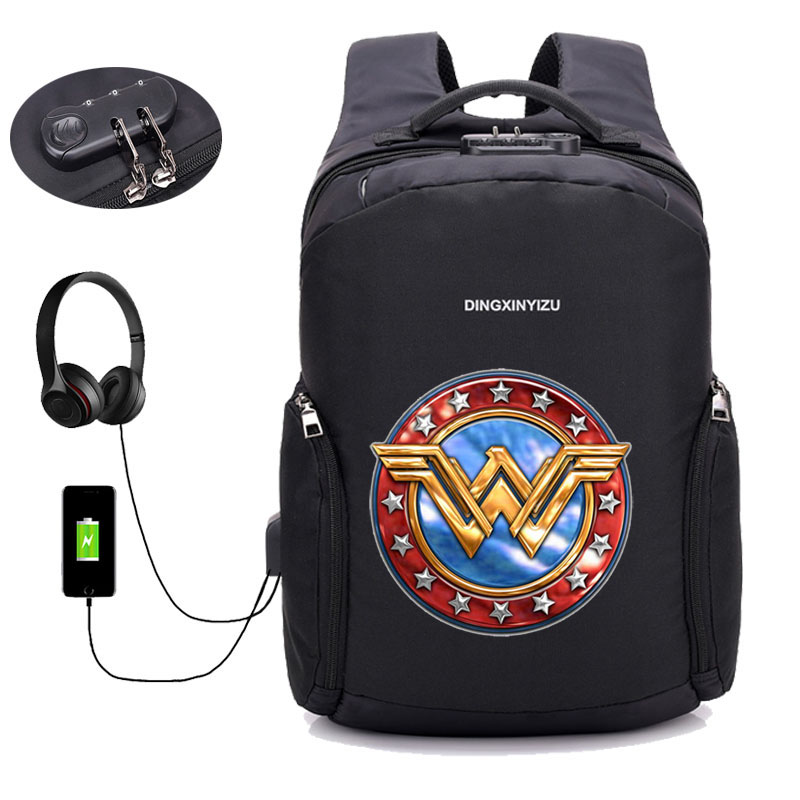 Comics Wonder Woman Backpack Anti Theft With Usb Charging Laptop Unisex Knapsack Shoulder Waterproof Travel Bag 12 style in Backpacks from Luggage Bags