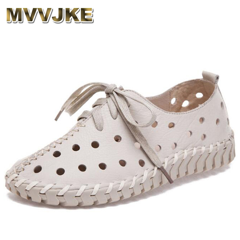MVVJKE Summer Spring Hollow Genuine Leather Shoes Women 2018 New Fashion Lace Up Women's Flats Comfortable Handmade Pregnant Hol mvvjke 2018 spring summer new bow genuine leather women boots hollow mesh ankle boots comfortable low heels fashion shoes