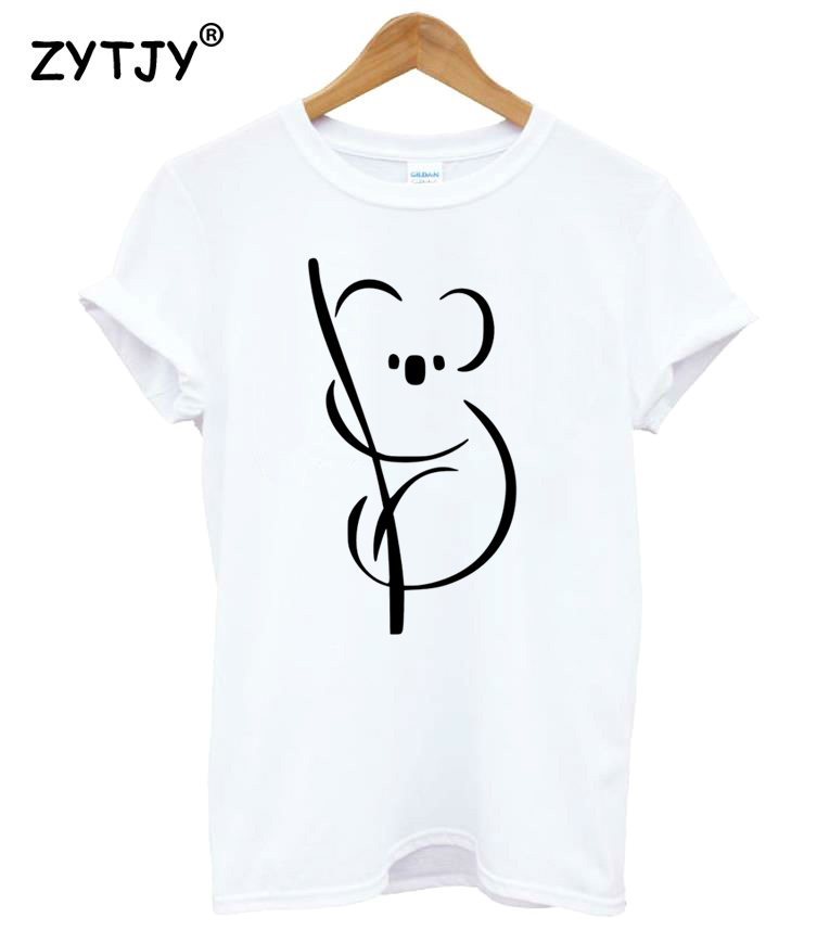 Simple Koala Print Women Tshirt Cotton Casual Funny T Shirt For Lady Girl Top Tee Hipster Tumblr Drop Ship Z-1158