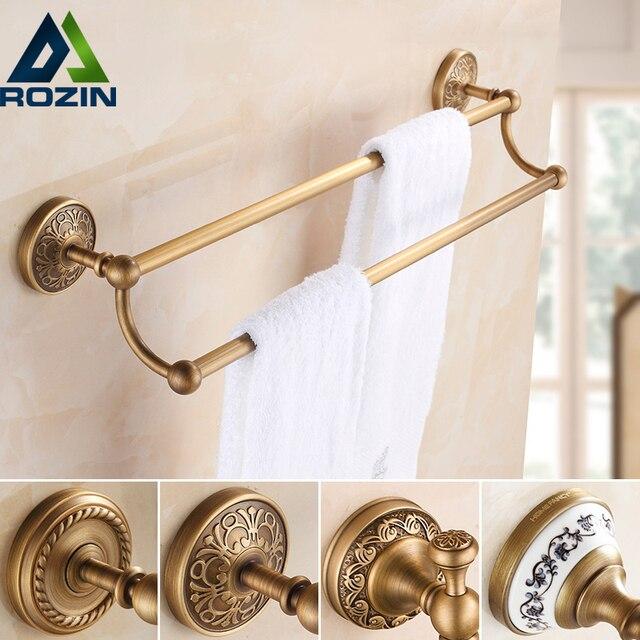 Beau Luxury Wall Mount Towel Bar Bathroom Double Towel Rack Brass Towel Rail  Antique Brass