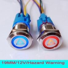 19 мм 12V светодиодный световой аварийный Предупреждение вспышка светильник кнопка для автомобиля переключатель с 15 см провод разъем