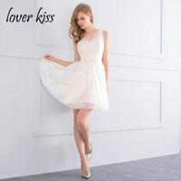 Lover Kiss Vestido Madrinha Beige One Shoulder Lace Short Bridesmaids Dresses For Women Plus Size Mini