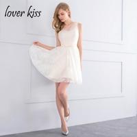 Lover Kiss Vestido Madrinha Beige One Shoulder Lace Short Bridesmaids Dresses For Women Plus Size Mini