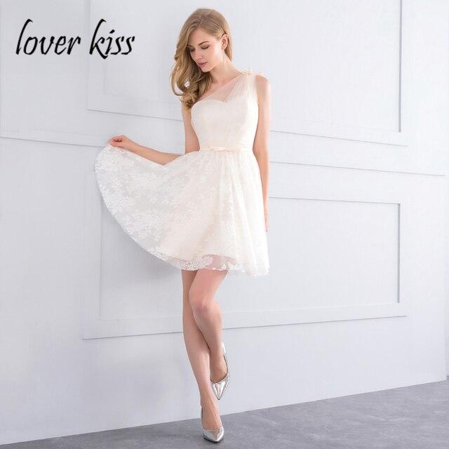Lover Kiss vestido madrinha Beige One Shoulder Lace Short ...