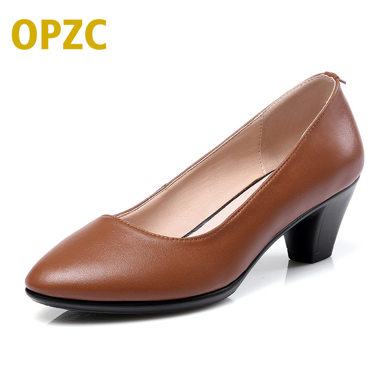 OPZC 2018 New Autumn Genuine Leather On Women OL Party Court Shoes Mid Heels Shoes Mary Jane Loafer Pointed female shoes цена