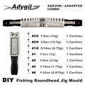 Adygil DIY рыболовная круглая головка джиг форма ADRJHM/Ассорти комбо 1/32 oz  1/16 oz  1/8 oz  1/4 oz  5/16 oz  3/8 oz  1/2oz 7 полостей