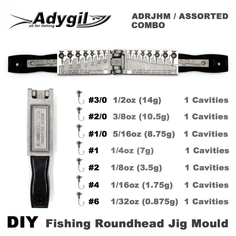 Adygil DIY Fishing Roundhead Jig Mould ADRJHM/ASSORTED COMBO 1/32oz, 1/16oz, 1/8oz, 1/4oz, 5/16oz, 3/8oz, 1/2oz 7 Cavities все цены