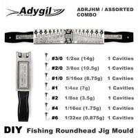Adygil DIY Vissen Roundhead Jig Schimmel ADRJHM/DIVERSE COMBO 1/32 oz  1/16 oz  1/8 oz  1/4 oz  5/16 oz  3/8 oz  1/2oz 7 Holtes