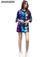 Women Streetwear Short Sleeve T Shirt Feminino 2019 Summer 3D Cartoon Sequined Color Star Design Loose Long T Shirt Tops Femme