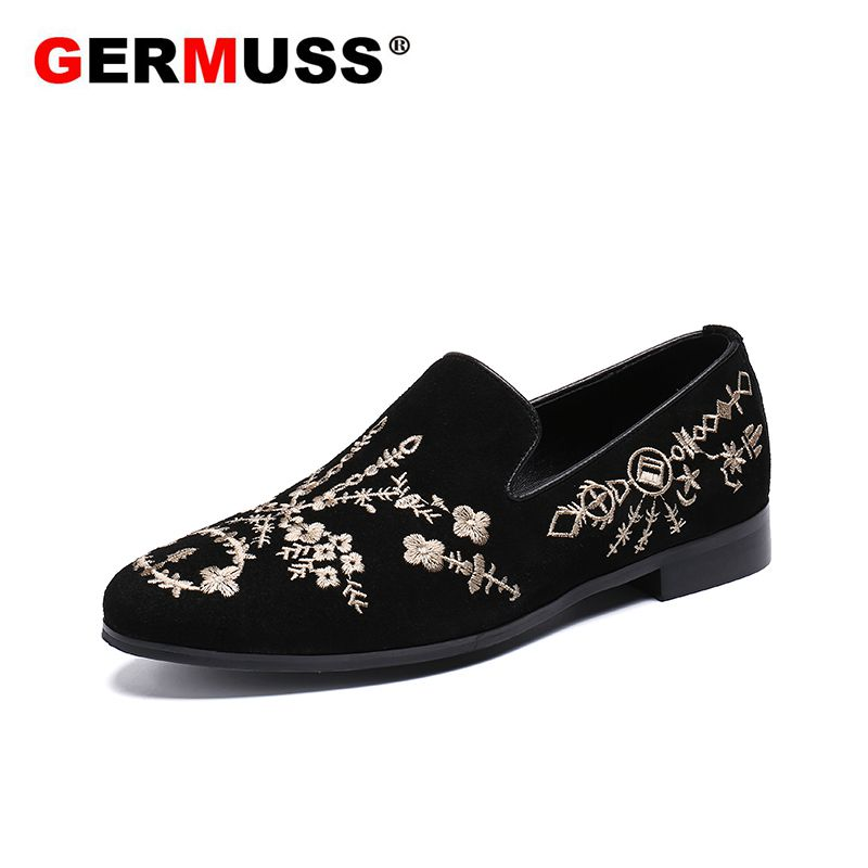 2018 Fashion Man Velvet Embroidery Luxury Brand New style Wedding men Shoes sapato masculino social Male Flats Evening Party цена