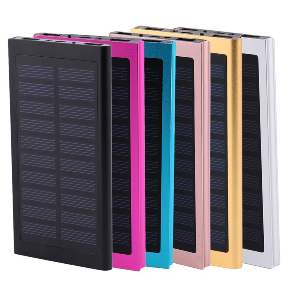 Ultra Slim Powerbank 30000mah Solar Dual USB LED Light External Baterry 30000 mah Power Bank For iPhone X 8 7 6s Xiaomi Mi A2