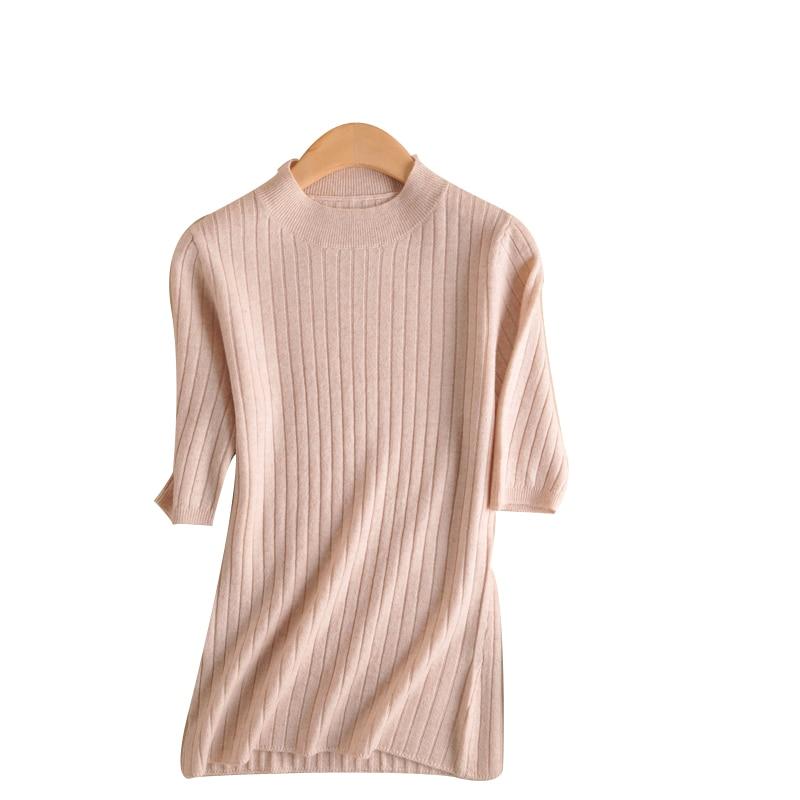 Новый высокое качество круглый вырез свитер с коротким рукавом однотонный Простой Большой размер женский свитер с коротким рукавом удобны...