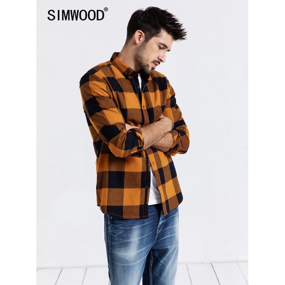 SIMWOOD 2019 Brand Casual Shirt Men Spring Fashion Streetwear Long Sleeve Plaid Shirts Male Slim Fit Camisa Masculina 190099-in Casual Shirts from Men's Clothing