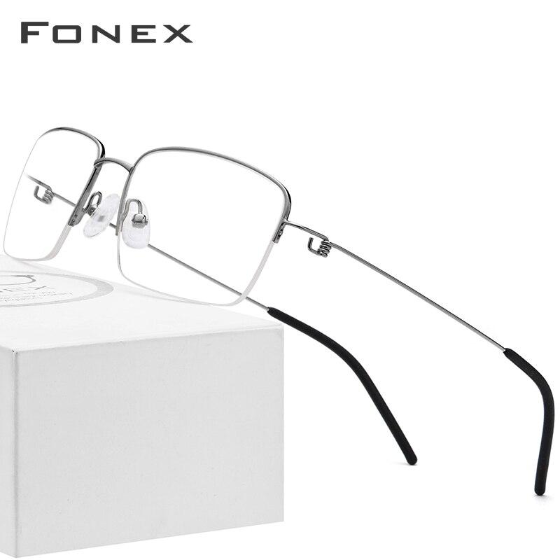 Titanium Alloy Optical Glasses Frame Men 2019 Half Prescription Eyeglasses Korean Women Myopia Screwless Eyewear For Big Face
