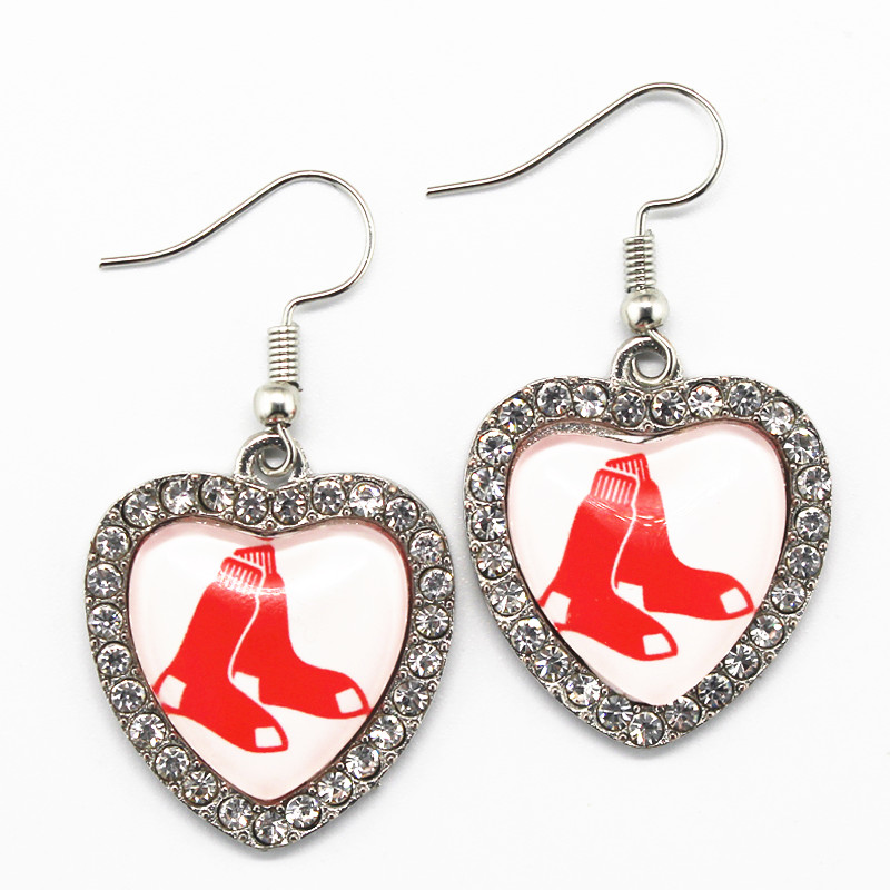 High Quality Boston Red Sox Sports Team Crystal Heart Alloy Earring 6pairs Silver Earring Jewelry Earring charms For women