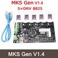 Mks gen v1.4 3d impressora drv8825 stepper motor control board + 5 pcs mega 2560 r3 motherboard reprap ramps1.4 compatível, com USB