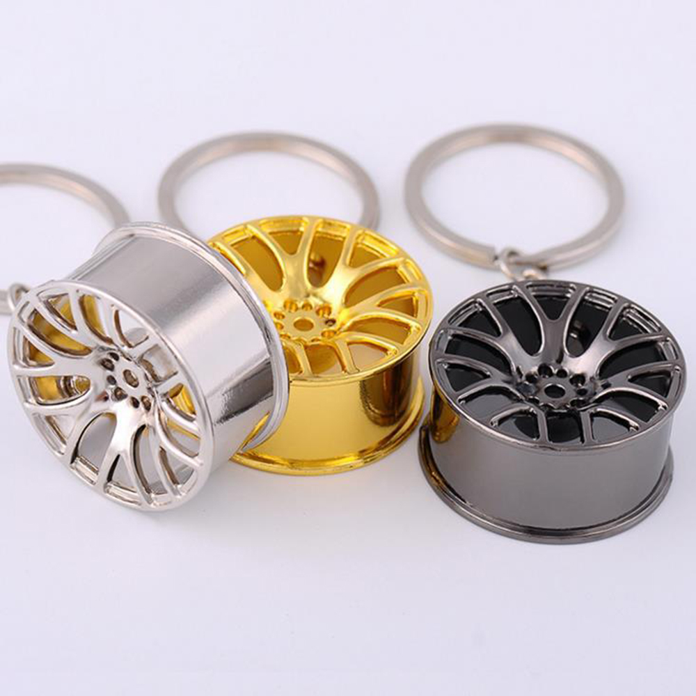 Suti New Design Cool Luxury Metal Keychain Car Key Chain Key Ring Creative Wheel Hub Chain For Man Women Gift
