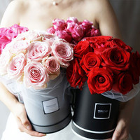 High Grade Korean Pure Color Round Flower Paper Boxes With Lid Hug Bucket Florist Gift Packaging