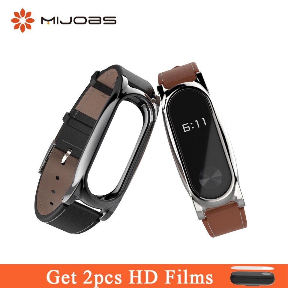 Mijobs Genuine Leather Strap Watch Band Bracelet Strap Screwless Mi Band 2 Wrist Smart Accessories Replace for Xiaomi Mi Band 2