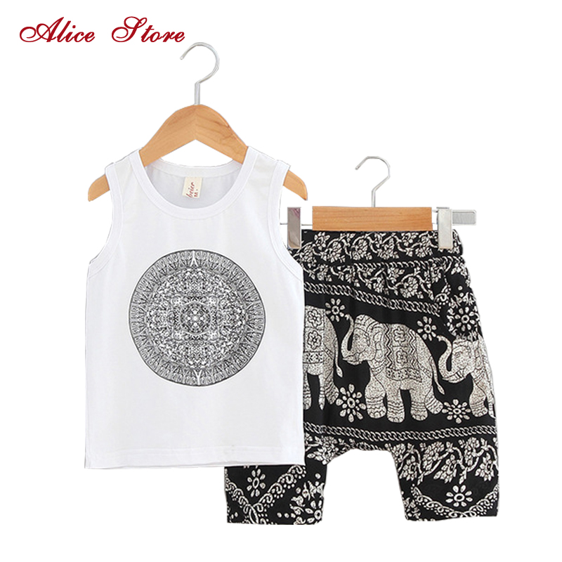 2018 New Summer Baby Print Vest + Elephant Pants 2 sets Children's Chinese Style Cotton Collapse Pants Clothing Sets