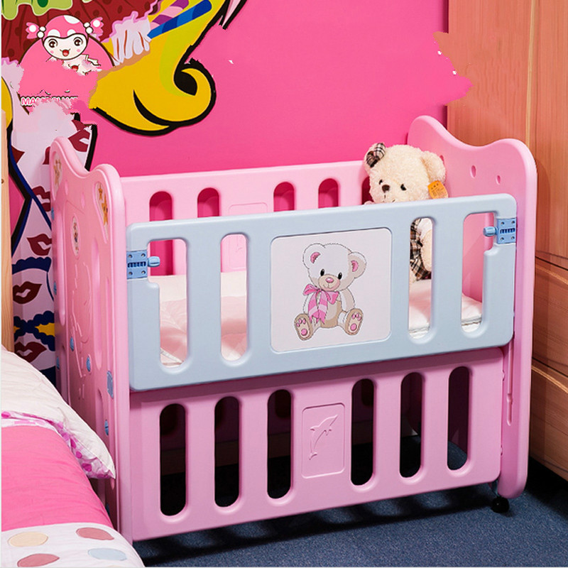 Baby crib plastic environmental multi-function cradle bed BB bed children bed shaking table bed is a desk цена