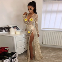 Women Sequin See Through Beach Cover Up Dress Plus Size Sarong Wrap Bikini Sexy High Split Robe Swimsuit Cover Up Beach Tunic