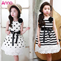 2016 Summer Korean children's clothing girls dress + corsage 2pcs flowers dot lace wave point stripe vest dress kids Polka Dot