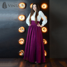 Vintacy винтажный стиль фиолетовый женщины юбки бальное платье мода длинные женщины юбка свободные причинно длиной до пола плиссированные молния