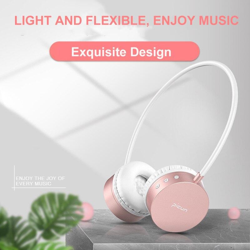 Stéréo Bluetooth Casque avec Micro Rose Or Sans Fil Casques pour xiaomi redmi 4 pro pour TV PC Mp3 Lecteur Filles Écouteurs