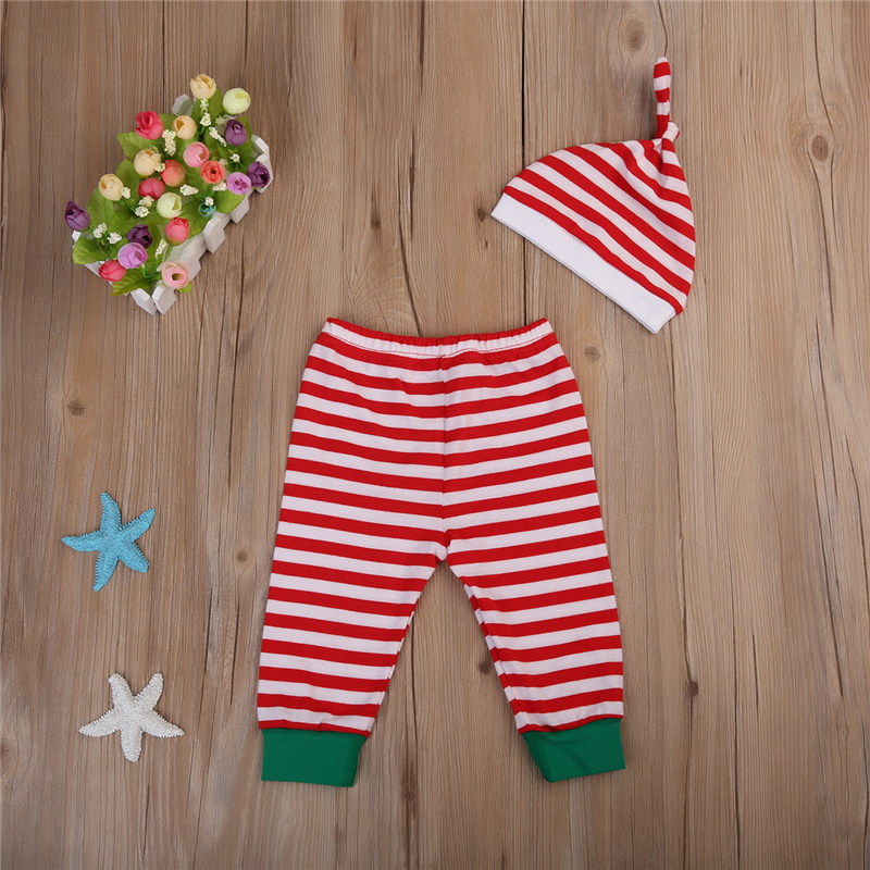 Christmas Baby Clothing 2017 Autumn Newborn Infant Baby Boy Girl Long Sleeve Romper Pants Hat Striped Santa Outfits Clothing in Clothing Sets from Mother Kids