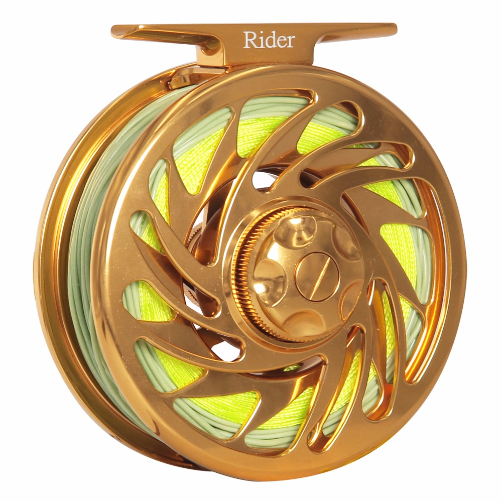 3/4 5/6 7/8 9/10 WT Fly Reel Combo CNC Machined 6061 T6 Aluminum Large Arbor Gold Color Fly Fishing Reel Combo With Line piscifun fly fishing reel platte 3 4 5 6 7 8 9 10 wt cnc machine cut fishing reel large arbor aluminum fly reel302 327 365