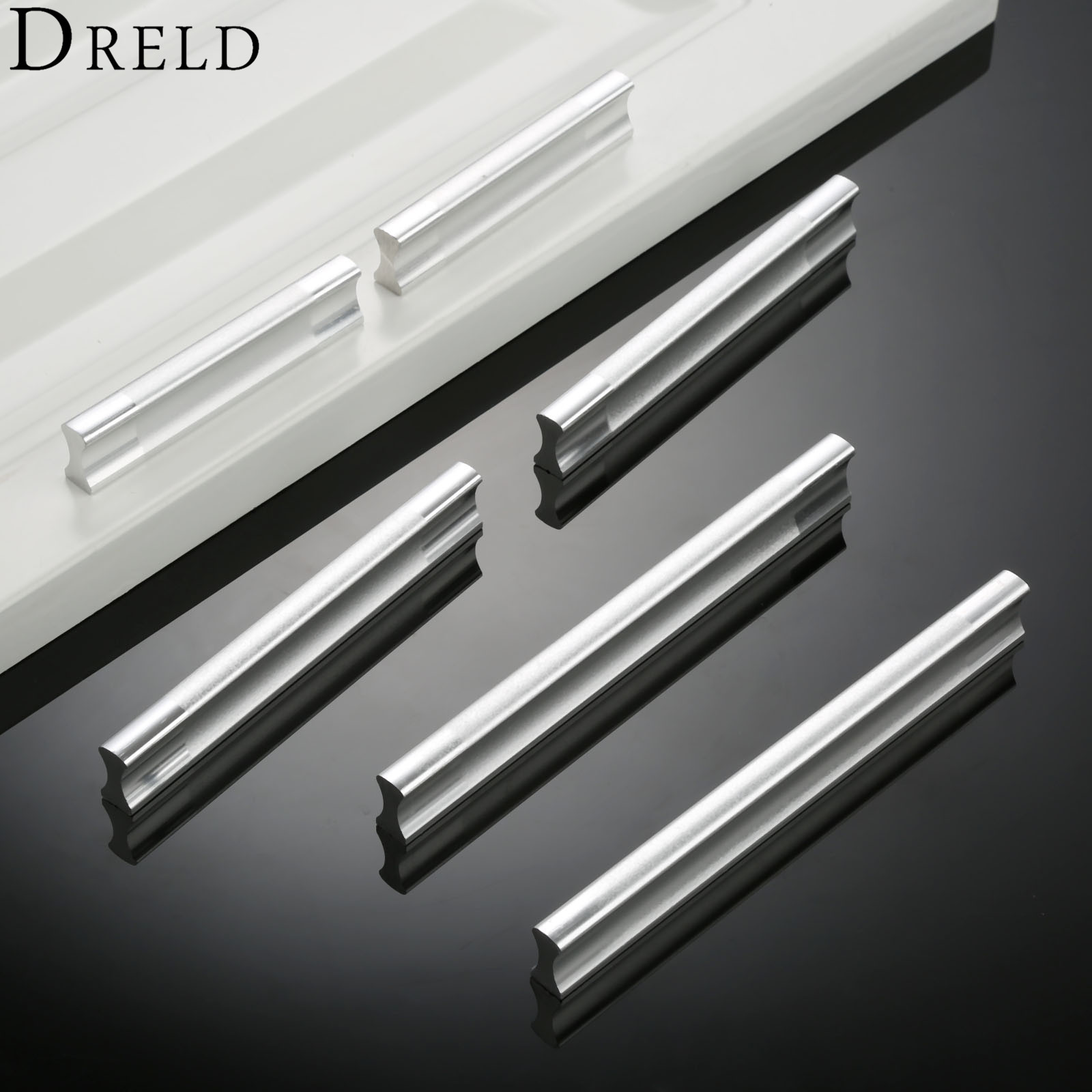 DRELD Aluminum Door Handle Kitchen Dresser Handles Cabinet Wardrobe Pull Handles Modern Furniture Cupboard Knobs 64/96/128mm antique furniture handles wardrobe door pull dresser drawer handle kitchen cupboard handle cabinet knobs and handles 128mm 160mm