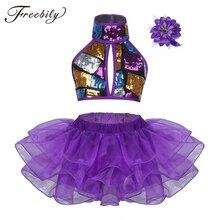 Purple Girls Modern Dance Costumes Ballroom Dancing Halter Shiny Sequins Crop Top with Skirts Hair Clip Ballet Jazz Dancewear