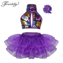 Trajes de baile modernos para niñas morados, baile de salón, Halter, Top brillante, corto de lentejuelas con faldas, pinza para el pelo, traje de baile de Ballet, Jazz