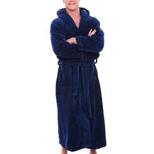 Męskie zimowe pluszowe wydłużony szal szlafrok ubrania domowe długi rękaw szata płaszcz mężczyźni szata albornoz hombre futro szata darmowa wysyłka tanie tanio normal Szaty Z kapturem bathrobe men Stałe as shown Flanela Poliester support fur robe