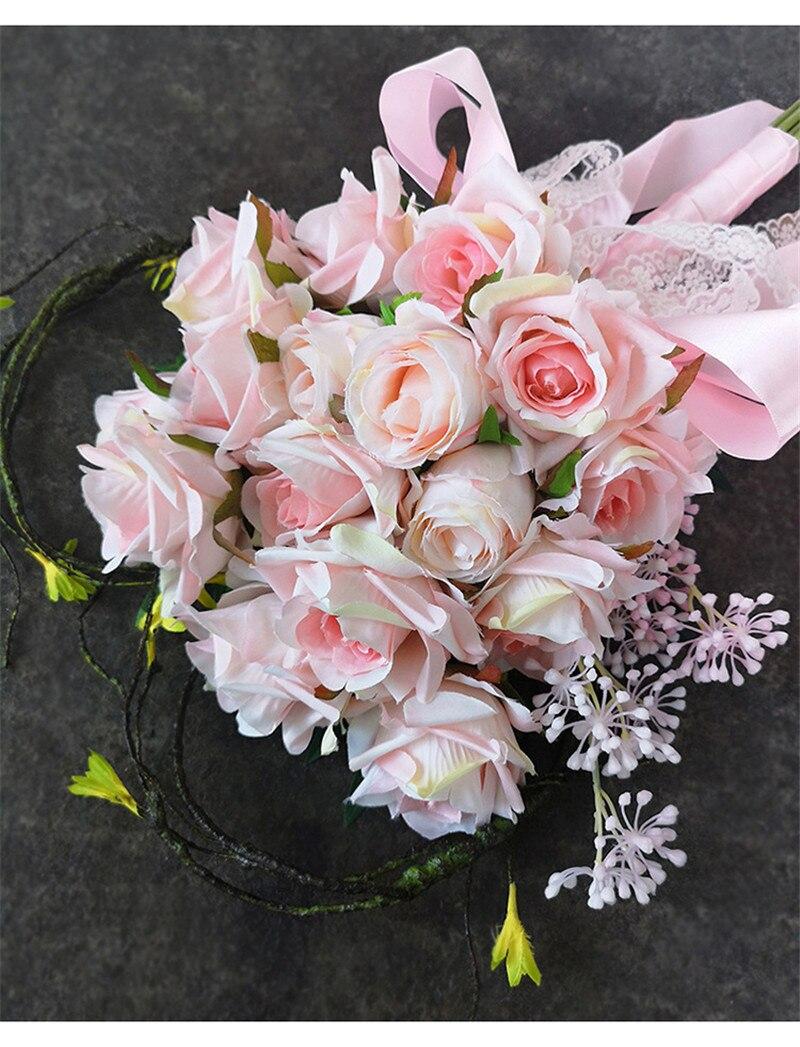 artificielle rose bouquet de mariée en forme de coeur bouquet gelin