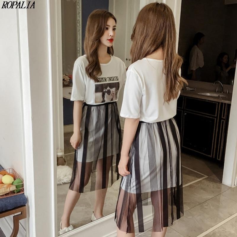 Casual Women Round Neck Head Portrait Print Short Sleeve T Shirt Dress + Mesh Skirt Two-Piece Set