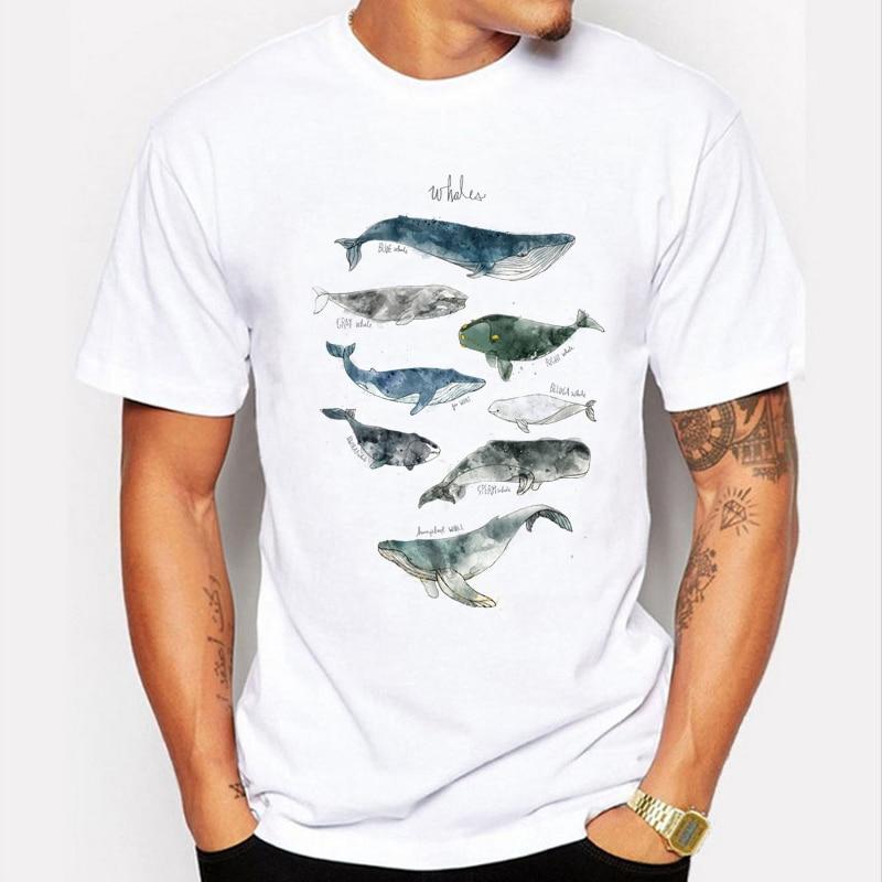 New 2016 fashion mens t shirts original whale print tee for High quality printed t shirts
