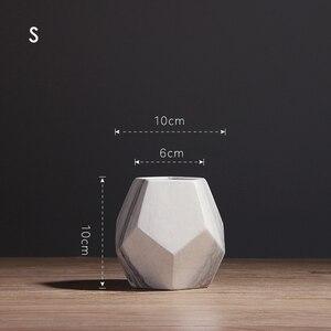 Image 3 - Vaso de cerâmica branco com marcação, decoração de casa ou escritório, em formato de geométrico, 1 peça 10/13/17cm