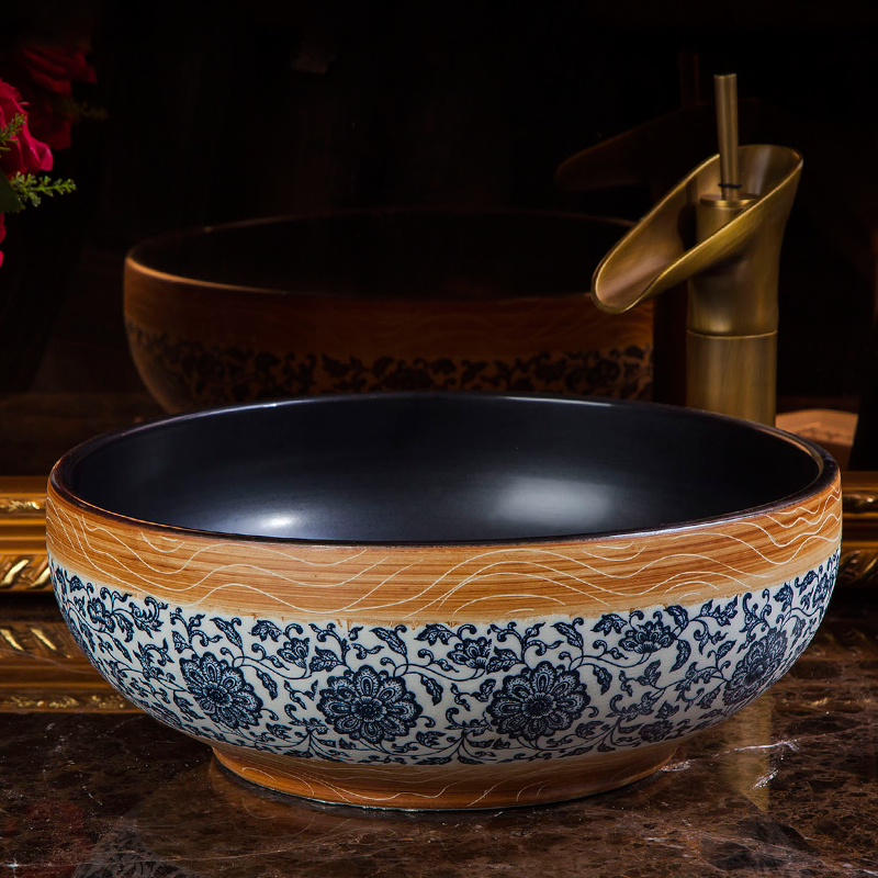Porcelain bathroom vanity bathroom sink bowl countertop black blue and white ceramic wash basin bathroom sink