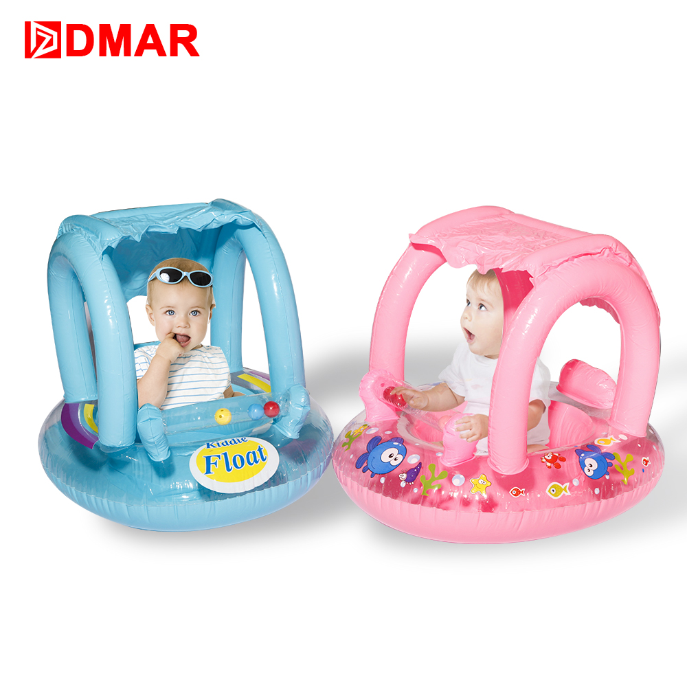 DMAR 60cm Inflatable Baby Boat With Canopy Pool Float For Kids Swimming Ring Fo Beach Sea Mattress Water Toys