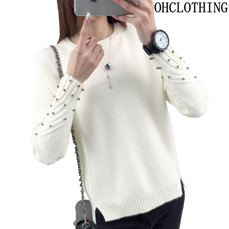 OHCLOTHING 2019 New Spring Korean Short All-match Winter Sweater Knitted Shirt With Long Sleeves Loose Women Sweater Pullover