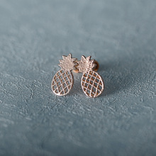 Trendy Zinc Alloy Summer Fruit Silver Gold Color Plant Pineapple Stud Earrings For Women Party Jewelry