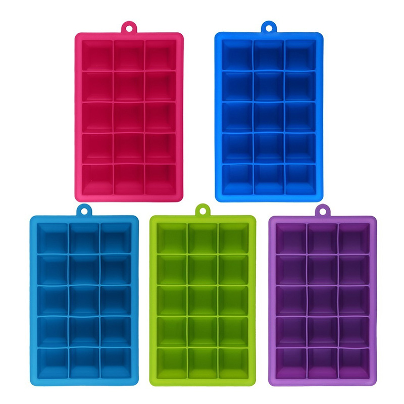 15 Grids Hot DIY Big Ice Cube Mold Square Shape Silicone Tray Fruit Maker Bar Kitchen Accessories LXY9 DE17