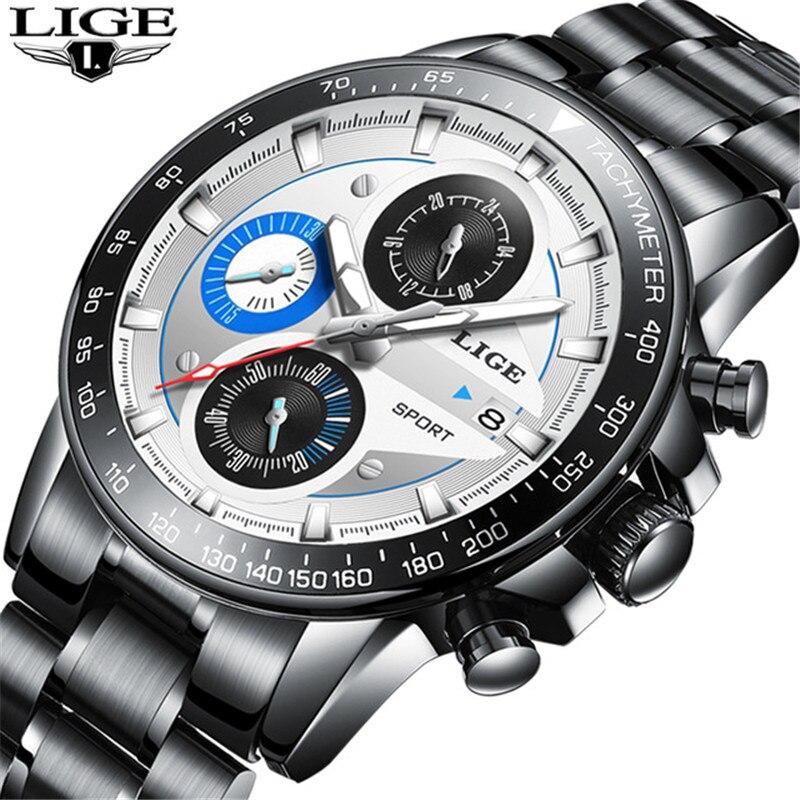 LIGE Mens Watches Top Brand Luxury Fashion Business Quartz Watch Men Sport Full Steel Waterproof White Clock Relogio Masculino